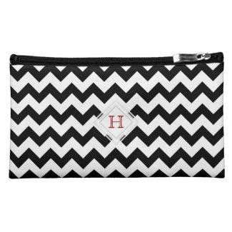 Red Monogram: Black And White Chevron Pattern Bag Makeup Bag