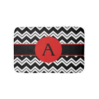 Red Monogram Black White Chevron ZizZag Rug Bath Mats