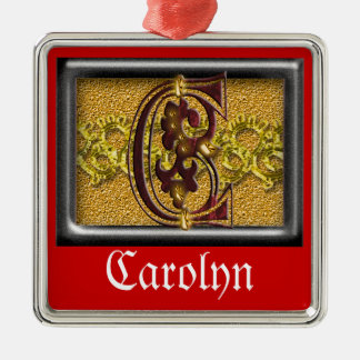 red monogram C Metal Ornament
