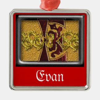 red monogram E Metal Ornament
