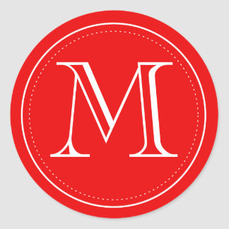 Red Monogram Envelope Seal by Origami Prints Classic Round Sticker