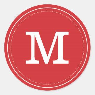 Red Monogram Envelope Seal Classic Round Sticker