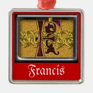 red monogram F Metal Ornament