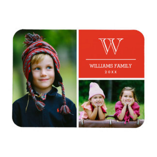 Red Monogram Family Photo Magnet