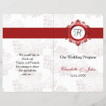 """red monogram folded Wedding program<br><div class=""""desc"""">red monogram bookfold wedding programs,  you will have to manually fold these programs. click &quot;clear&quot; on you right if you want to remove folding lines on front and back these folding lines are given to guide you that none of your text runs into other side. Matching products also available.</div>"""