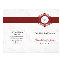 red monogram folded Wedding program