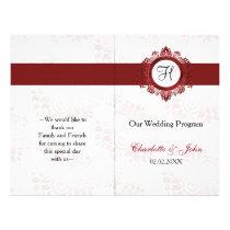red monogram folded Wedding program