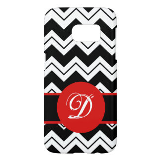 Red Monogram Initial Black White Chevron Zig Zag Samsung Galaxy S7 Case