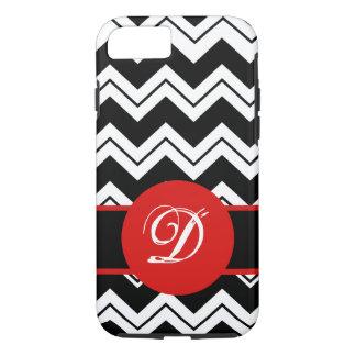 Red Monogram Initial Black White Chevron ZizZag iPhone 7 Case
