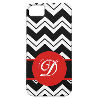 Red Monogram Initial Black  White Chevron ZizZag iPhone SE/5/5s Case