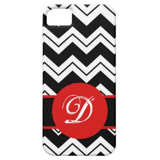 Red Monogram Initial Black  White Chevron ZizZag iPhone SE/5/5s Case