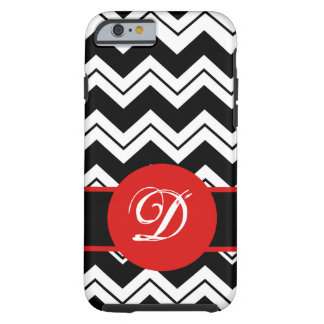 Red Monogram Initial Black White Chevron ZizZag Tough iPhone 6 Case