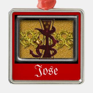 red monogram J Metal Ornament