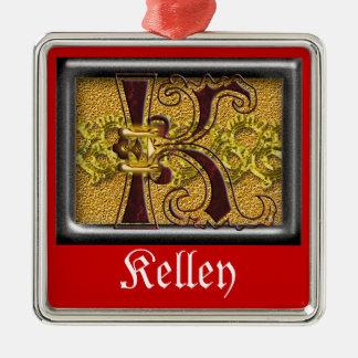 red monogram K Metal Ornament