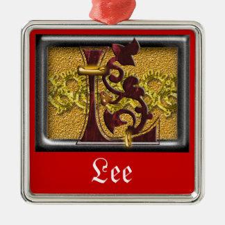 red monogram L Metal Ornament