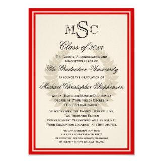 Red Monogram Laurel Classic College Graduation 4.5x6.25 Paper Invitation Card