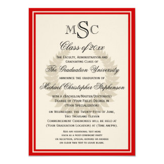 Red Monogram Laurel Classic College Graduation Card