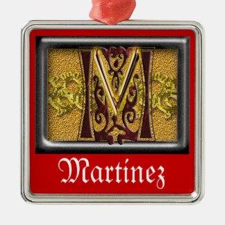 red monogram M Metal Ornament