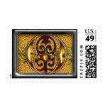 red monogram o postage stamp