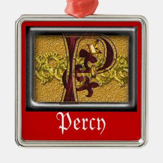 red monogram P Metal Ornament