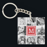 "Red Monogram Photo Collage Keychain<br><div class=""desc"">Keepsake key chain featuring your custom Instagram photo collage and personalized with your monogram initial. Click Customize It to change monogram font and color and further personalized the design. Great gift for family,  friends,  parents,  and grandparents!</div>"