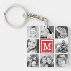 Red Monogram Photo Collage Keychain at Zazzle