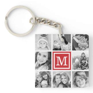 Red Monogram Photo Collage Keychain