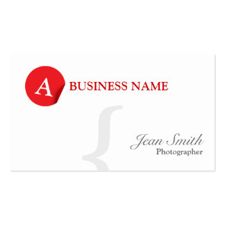 Red Monogram Photographer Business Card