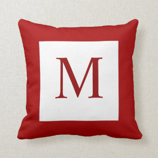 Red Monogram Pillow