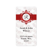 red monogram return address label