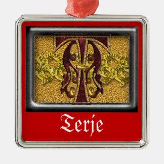 red monogram T Metal Ornament