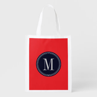 Red monogram template grocery bag