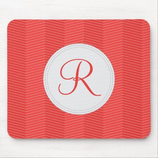 Red Monogram Thin Chevron Pattern Mouse Pad