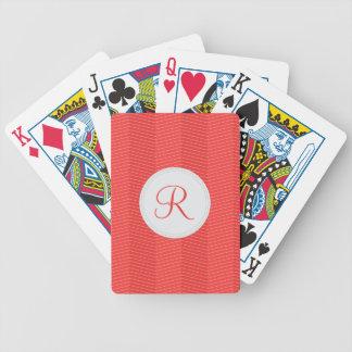 Red Monogram Thin Chevron Pattern Bicycle Playing Cards
