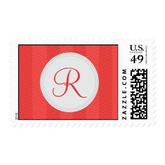 Red Monogram Thin Chevron Pattern Postage