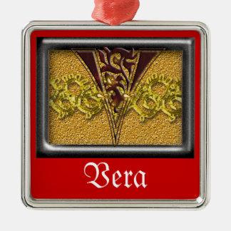 red monogram V Metal Ornament