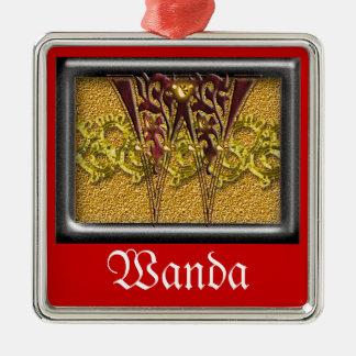 red monogram W Metal Ornament
