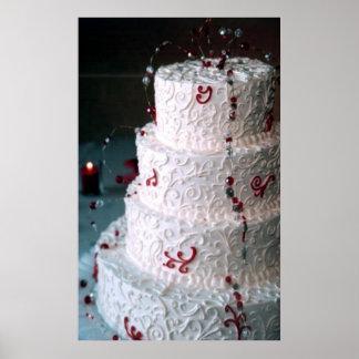 Red Monogram Wedding Cake Bakery Fine Art Print