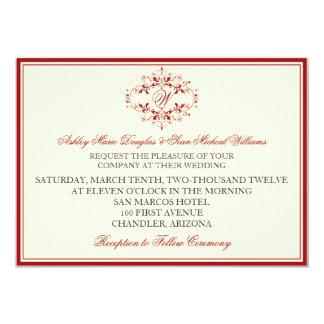 Red Monogram Wedding Invitation