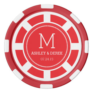 Red Monogram Wedding Poker Chip Poker Chips