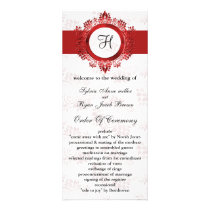 red monogram Wedding program