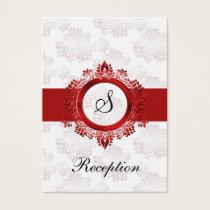 red monogram wedding Reception Cards