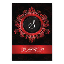 red monogram wedding RSVP standard 3.5 x 5 Card