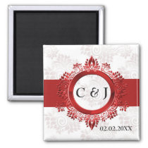 red monogram wedding save the date magnets