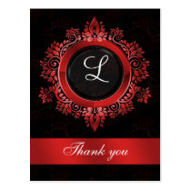 red monogram wedding thank you postcard
