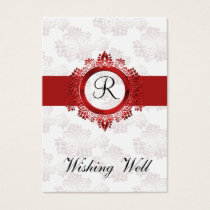red monogram wishing well cards