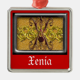 red monogram X Metal Ornament