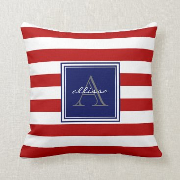 Beach Themed Red Monogrammed Awning Stripe Throw Pillow