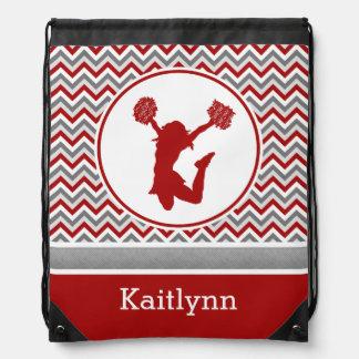 Red Monogrammed Chevron Stripes Pom or Cheer Backpacks
