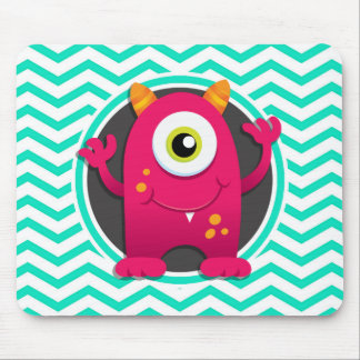 Red Monster; Aqua Green Chevron Mouse Pad